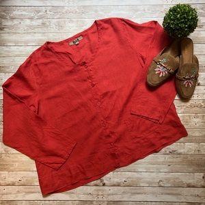 Flax Linen Button Up Top